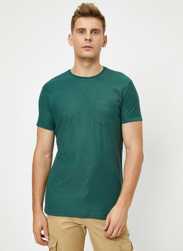 Koton Bisiklet Yaka Cep Detayli Flamli Kumas Slim Fit Basic T-Shirt Yeşil